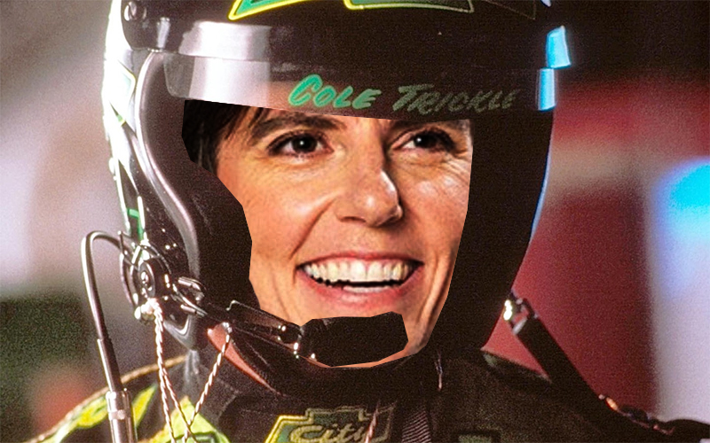 Tig Notaro Photoshopped into Days of Thunder wearing a race car helmet and smiling