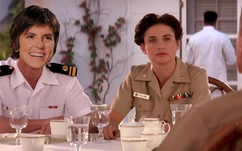 Tig Notaro Photoshopped into A Few Good Men with Demi Moore wearing a Navy uniform