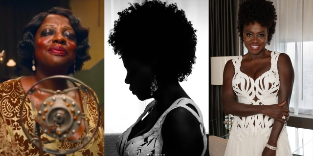 A three-photo collage of Viola Davis: Ma Rainey's Black Bottom, a profile shot in her Oscar gown, and a candid photo in her Oscar gown