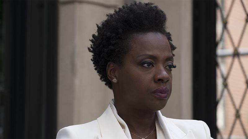 Viola Davis in a white suit in Widows