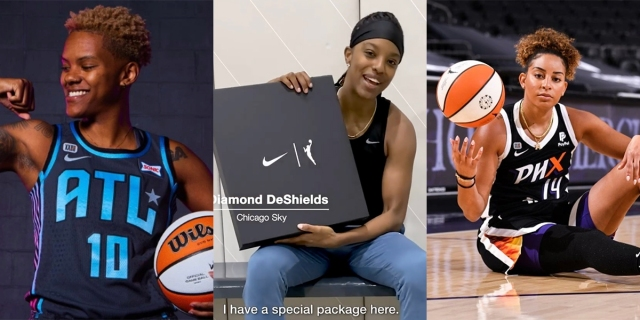 A collage of Courtney Williams, Bria Hartley, and Diamond DeShields with their new WNBA jerseys.
