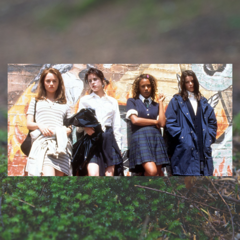 The Craft 25th Anniversary: Image shows 4 girls in catholic school girl uniforms but wearing them in different ways. A transparent image behind it shows grass in a field.