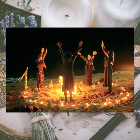 Image shows 4 girls in a circle on a beach with their hands in the air and candles surrounding them. A transparent image behind it shows lavender and candles on a tray