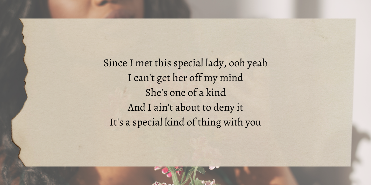 """Image shows a beautiful Black woman picking petals off a flower with lyrics the author thinks reflects lesbian dating overlaid that say """"Since I met this special lady, ooh yeah I can't get her off my mind She's one of a kind And I ain't about to deny it It's a special kind of thing with you"""""""