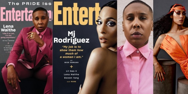 Two covers of Entertainment Weekly's 2021 Pride Issues: Lena Waithe in a pink suit, Mj Rodriguez with her back out facing the camera, and then inside images from the magazine: Lena Waithe, again with her pink button up shirt, and Mj Rodriguez this time in an orange dress and head wrap.