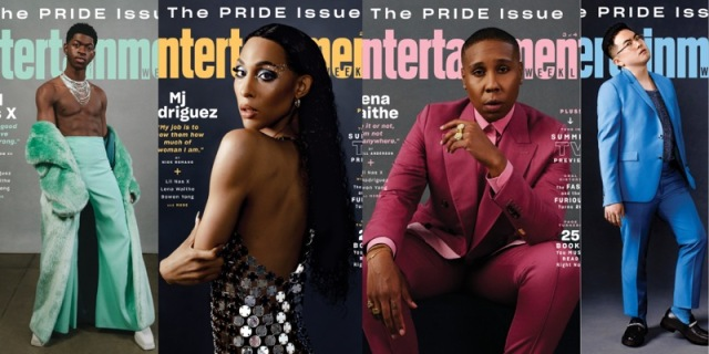 Four covers of the Entertainment Weekly 2021 Pride Issue, from Left to Right: Lil Nas X in green, Mj Rodriguez in shimmery silver, Lena Waithe in pink, and Bowen Yang in blue
