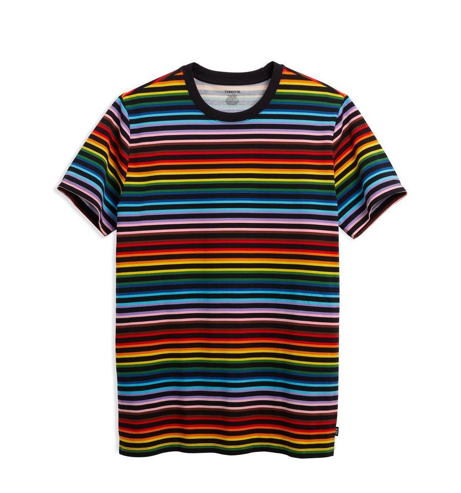 Rainbow-striped t-shirt.