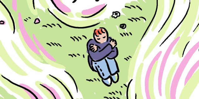 Yao is sitting alone in a green grass field that has swirls of pink and purple framing the edges.
