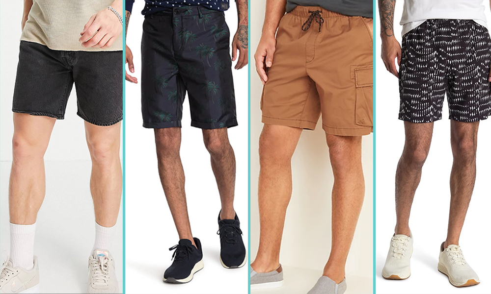 A collage of four pairs of 'dad' shorts, from L to R: plain black denim shorts that hit mid-thigh; dark blue shorts with a palm tree print; khaki cargo shorts, and loose flowy black shorts with a white geometric pattern