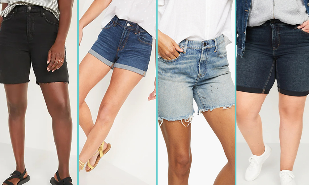 A collage of four pairs of shorts; from L to R, a pair of black denim mid-thigh shorts with a cutoff hem; a pair of higher-cut blue denim shorts with a rolled him, light wash denim shorts with a cutoff hem, and dark wash denim shorts with a longer cut and rolled hem.