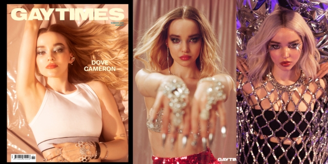 Dove Cameron is bisexual and on the cover of Gay Times magazine, wearing a white tank top and shimmery make up. She is also in two other photos, both covered in sparkles.
