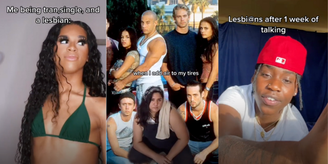 """Image shows three photos together. The first is a Black woman with long hair and an olive bikini top. The second is a person kneeling in a mechanics outfit with the cast of """"Fast and The Furious"""" intertwined. The third is a Black person in a white tee shirt and a red hat."""