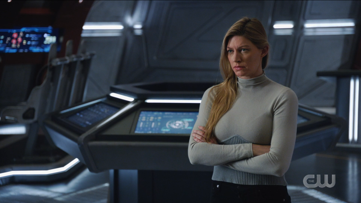 Legends of Tomorrow Episode 604: Ava Sharpe crosses her arms, looking like she's about to start scolding someone.