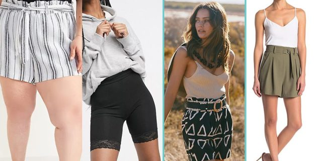 A composite of four photos of models wearing some really solid mommi-inspired shorts.