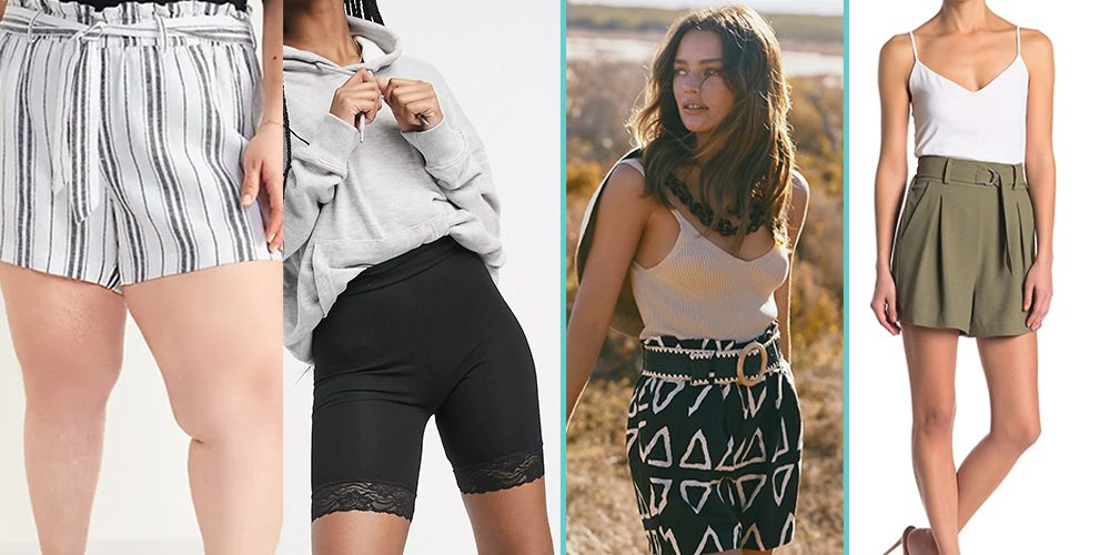 A collage of four pairs of shorts on four models, from L to R: A pair of drapey striped tie-belt shorts, a pair of black lycra biker shorts with a lace hem,a flowy pair of black shorts with a white geometric pattern, and draped khaki shorts with a belted waistline