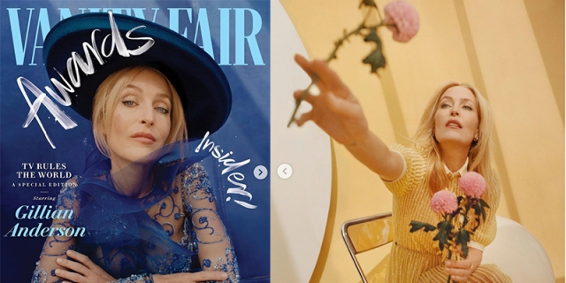 On the Vanity Fair Awards Issue cover, Gillian Anderson is in a blue dress with a blue hat that has a large brim. In the next image, from inside the magazine, she is in a yellow dress reaching out to the camera holding pink roses against a yellow background.