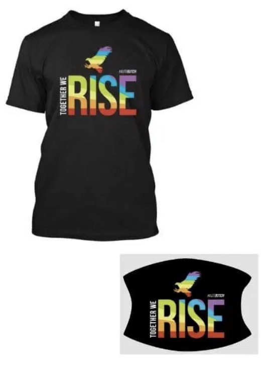 """A black t-shirt with the words """"Together we Rise"""" in a rainbow gradient block letters. A little rainbow bird is atop the letters"""