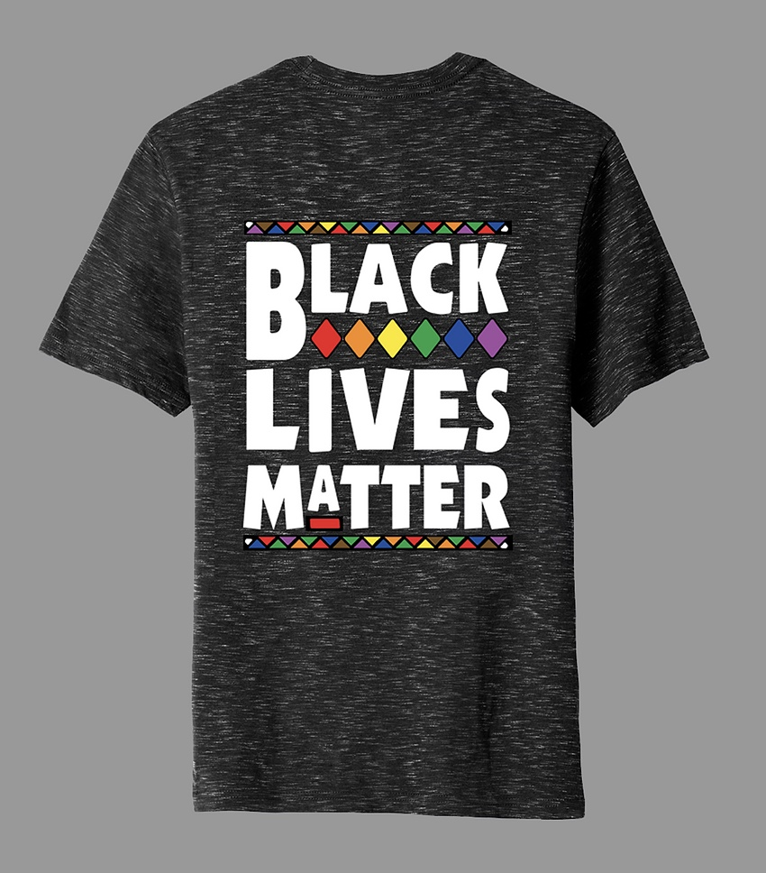 dark black/grey heather tee with BLACK LIVES MATTER in white lettering with rainbow accents