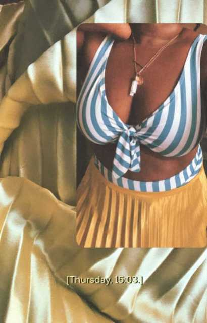 Shell, a queer person in swimwear,i wears a blue and white striped bikini top and a yellow pleated skirt