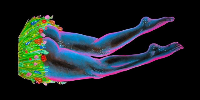 The bottom half of a body floats against a black background. The body wears a skirt made of plants. Butt cheeks are visible