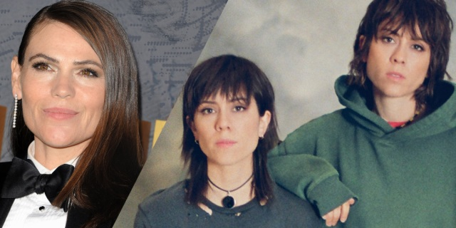 """A side-by-side collage of Clea DuVall with a high school photo of Tegan & Sara, from their album """"High School"""""""