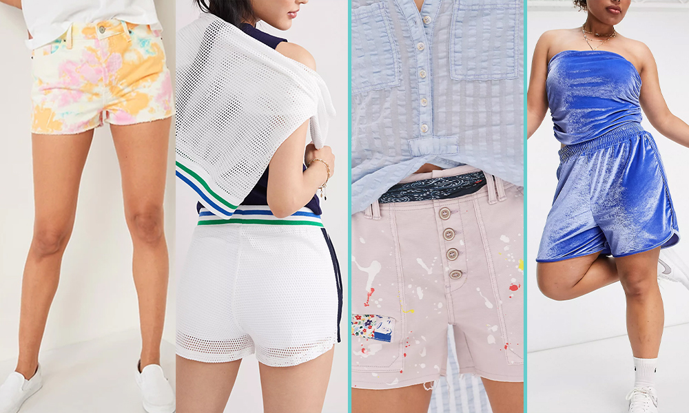 A collage, from L to R, of a pair of floral tie-dye shorts, a pair of white tennis inspired shorts with green and blue stripes, a pair of paint plattered board shorts, and a pair of blue velour shorts