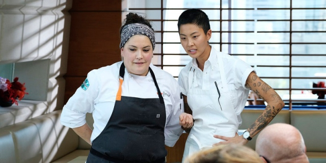 """Maria and Kristen awaait word from the judges about their dishes, this week on """"Top Chef."""""""