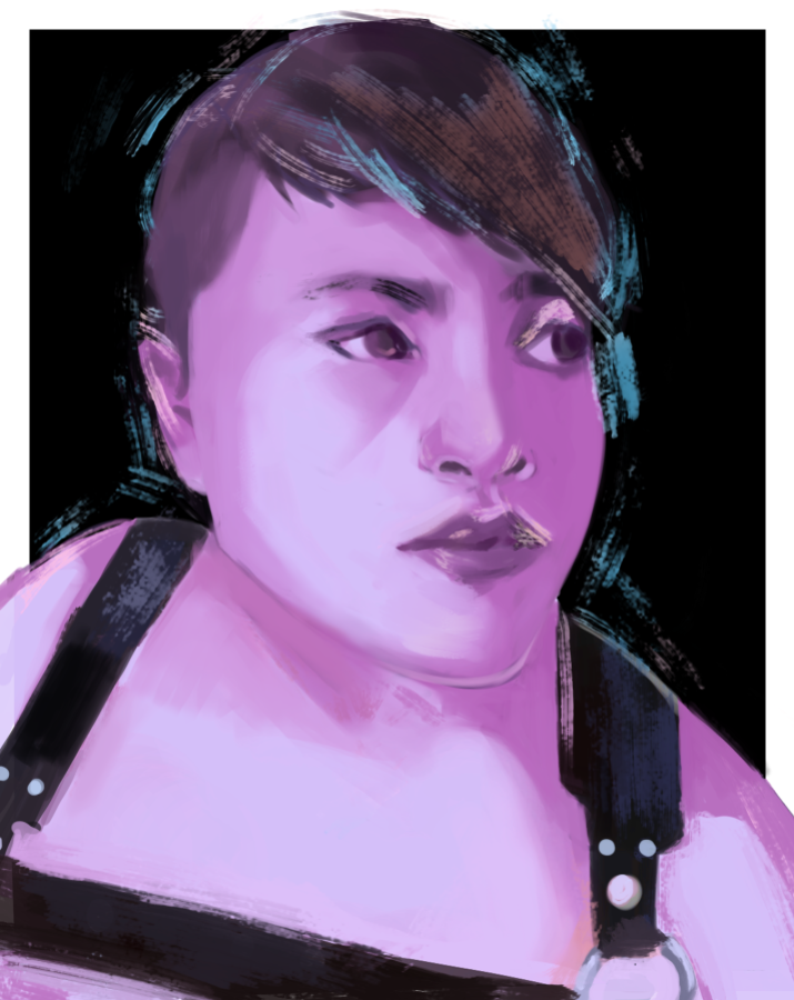 Purple tone painting of a person with short hair. The person wears a black chest harness.