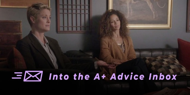 """two characters from the show The Fosters sit on a couch and receive therapy. a graphic over top reads """"Into the A+ Advice Box"""" and has an envelope icon."""