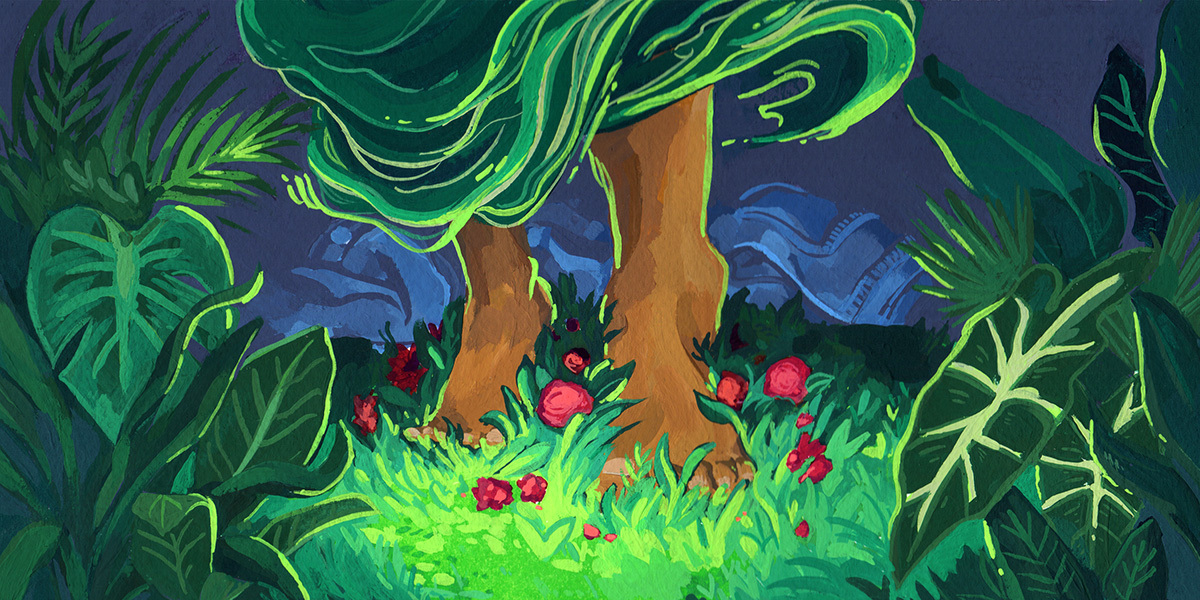Brown feet walk through the bright green grass at night with red flowers strewn about.