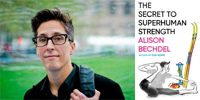 A composite photo of a portrait of author Alison Bechdel and the cover of her new book, The Secret to Superhuman Strength