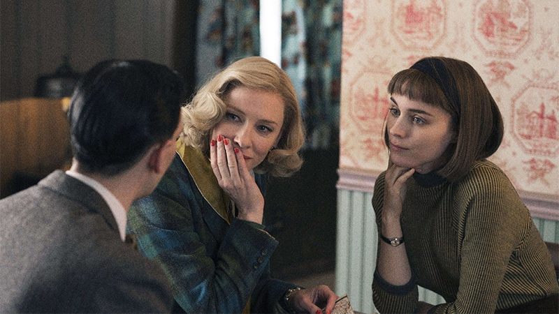 Carol and Therese glare at the notions salesman