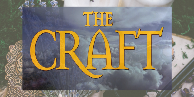 """The Craft's 25th Anniversary: A cut out of """"The Craft"""" movie poster framed against a multicolored background"""