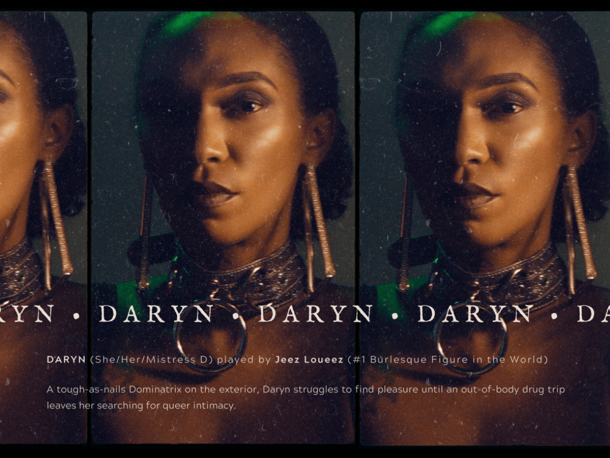 """Image shows a close up of a beautiful Black woman staring into the camera wearing various necklaces and earrings. Her name """"Daryn"""" is placed on top."""