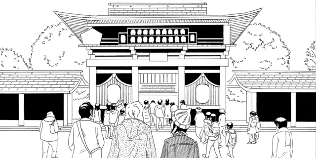 A black and white line drawing of a crowd of tourists visiting in Japan.