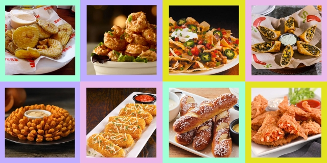 A collage of 8 images of deep fried appetizers from your favorite chain restaurants
