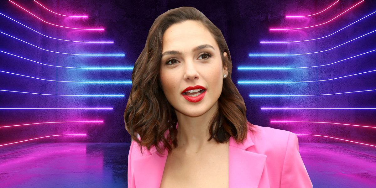 Gal Gadot cut out and pasted against bisexual lighting.
