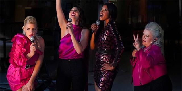 Dawn (Sara Bareilles), Wickie (Renée Elise Goldsberry), Summer (Busy Philipps), and Gloria (Paula Pell) in Girls5Eva gay