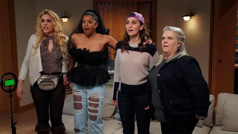 Dawn (Sara Bareilles), Wickie (Renée Elise Goldsberry), Summer (Busy Philipps), and Gloria (Paula Pell) in Girls5Eva