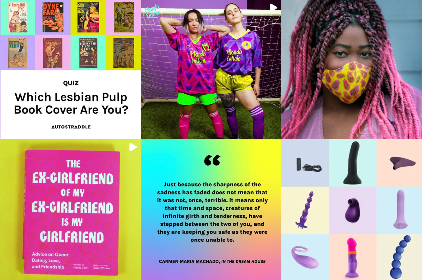 a selection of our instagram posts: quizzes, merch, books, quotes about heartbreak and sex toys.