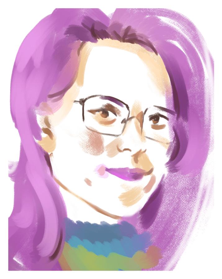 Kiyomi has square glasses, purple lipstick, and purple hair. She has very light skin.