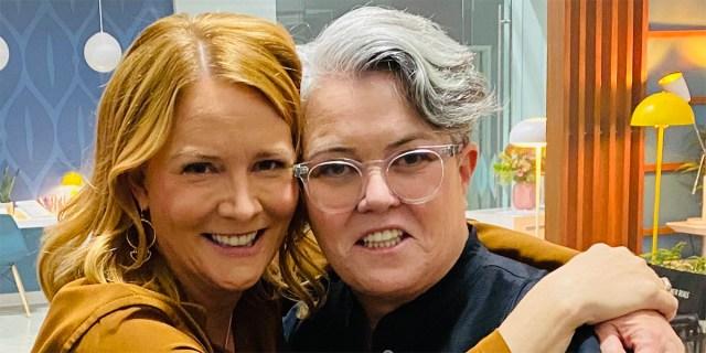 Lauren Holloman hugs Rosie on the set of Gen Q