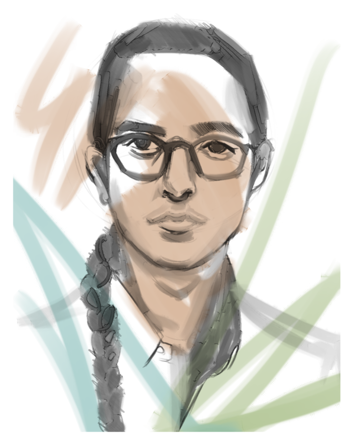 Loan has light skin, glasses, and a braid. Colorful lines are scrawled over their face.