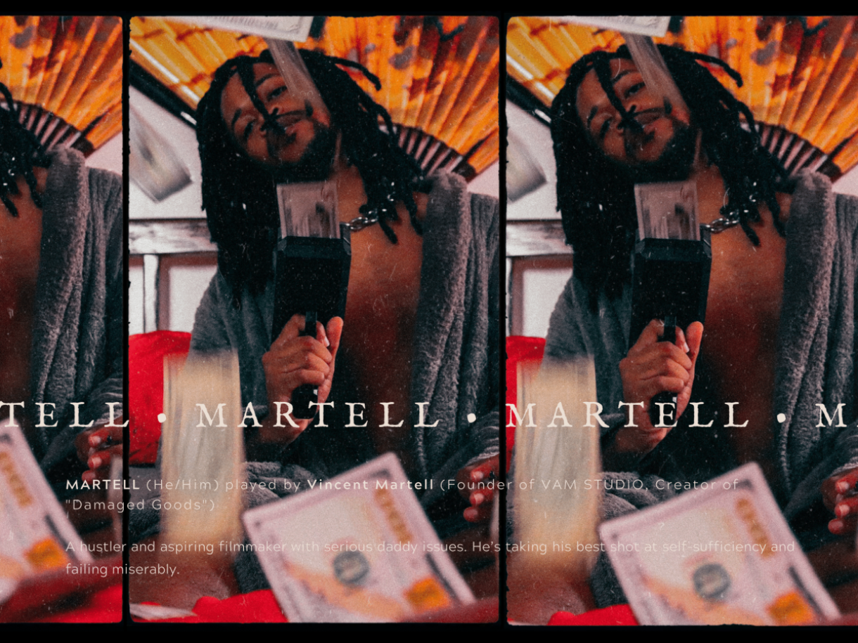 """Image shows a beautiful Black person with a money gun in their hands staring into the camera. money floats around the room and their name """"Martell"""" is placed across the photo."""