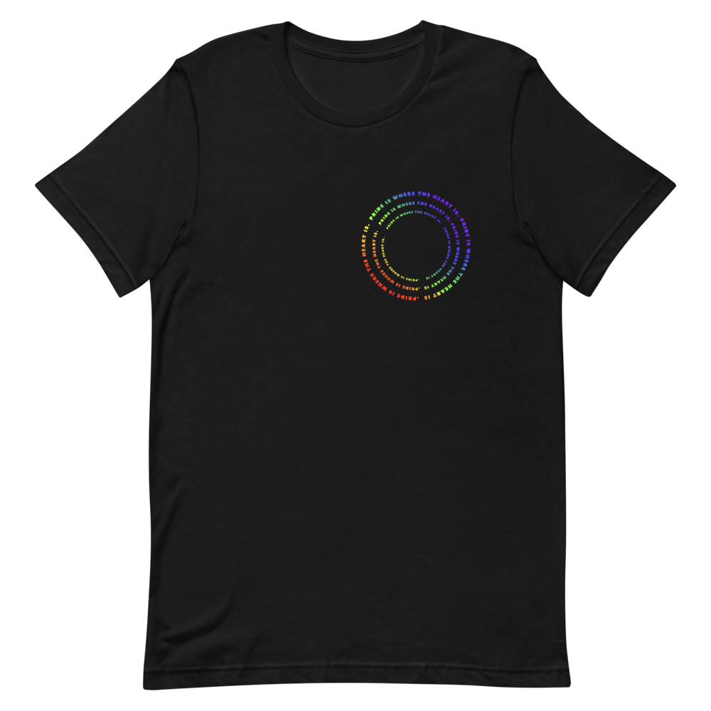 Black t-shirt with a circle logo on the breast that is a rainbow gradient.