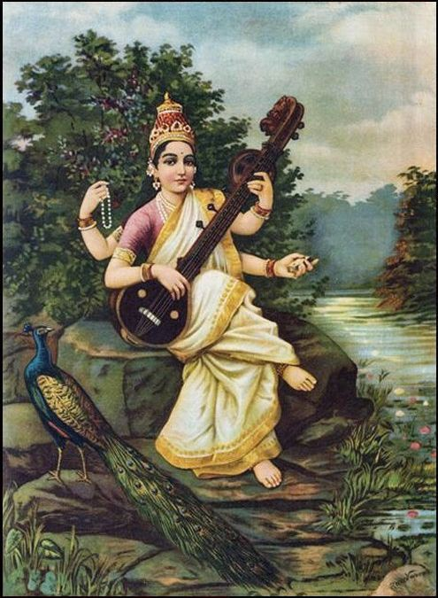 This is a painting of by Raja Ravi Varma of the Hindu goddess Saraswati. She is shown seated on a rock by water, playing a sitar and holding a rosary in one of her many hands. By her feet is a peacock. Saraswati is depicted as very light skinned, almost white.