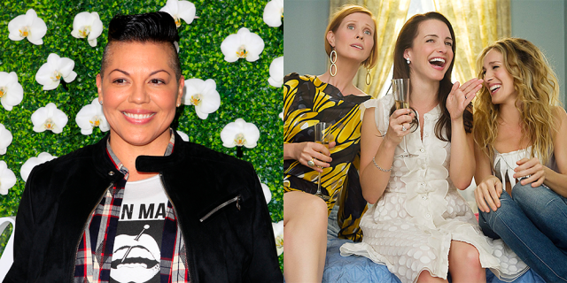 A collage of two photos: Sara Ramirez on the left and Carrie, Miranda, and Charlotte on the right.
