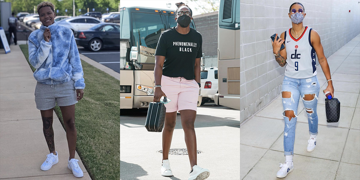 A collage of three queer WNBA players on their way to their games: Courtney Williams, Chelsea Grey, and Natasha Cloud