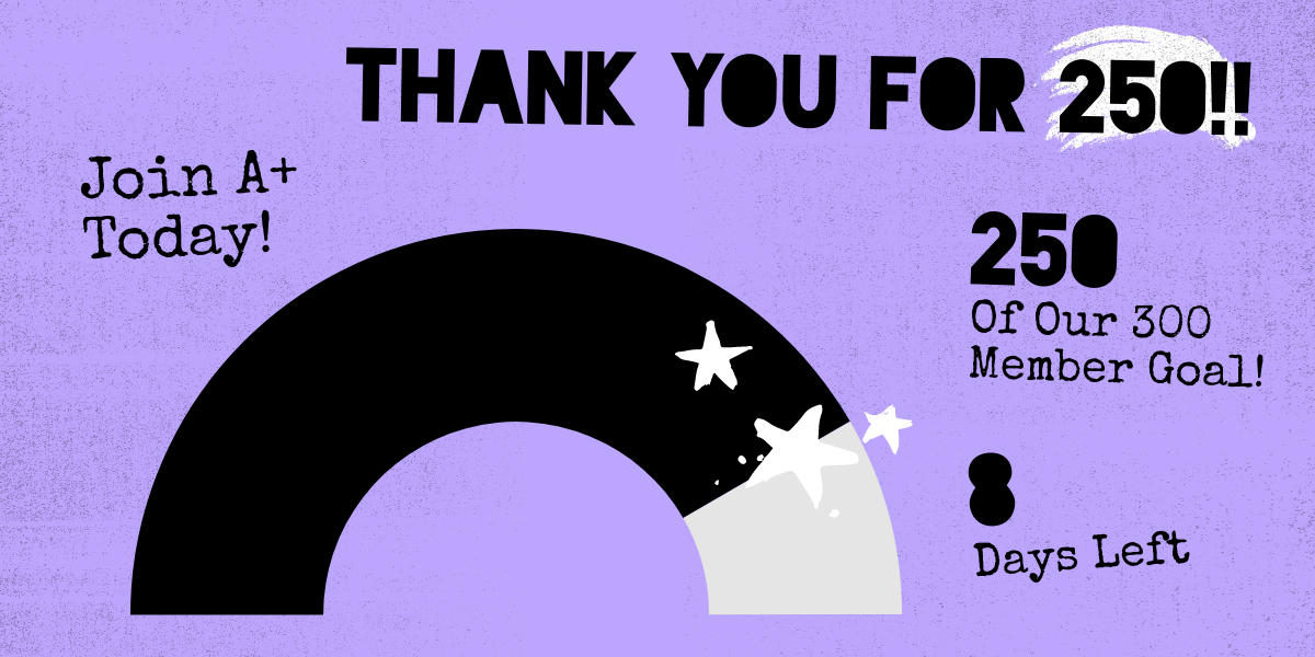 Thank you for 250! 250 of our 300 member goal! 8 days left.