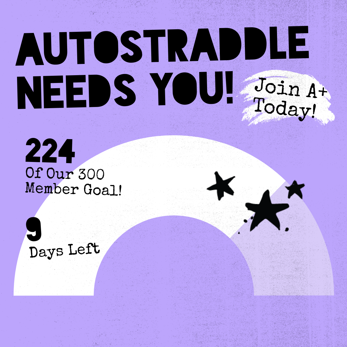 Autostraddle Needs You! Join A+ Today! 224 of our 300 member goal! 9 Days Left. An archway fills with white to indicate progress.